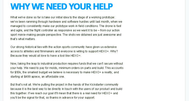 Kickstarter Help - HEXO Drone