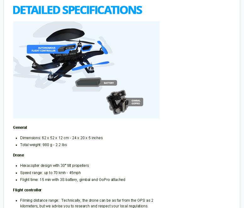 Product Specs - HEXO Drone